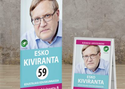 Esko Kiviranta, roll-up ja ständi, vaalimainonta