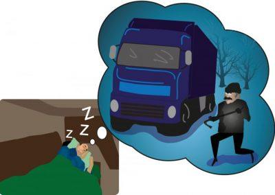 """Akt-lehti, kuvituskuva artikkeliin """"kuljettajien uni ja pelot"""""""