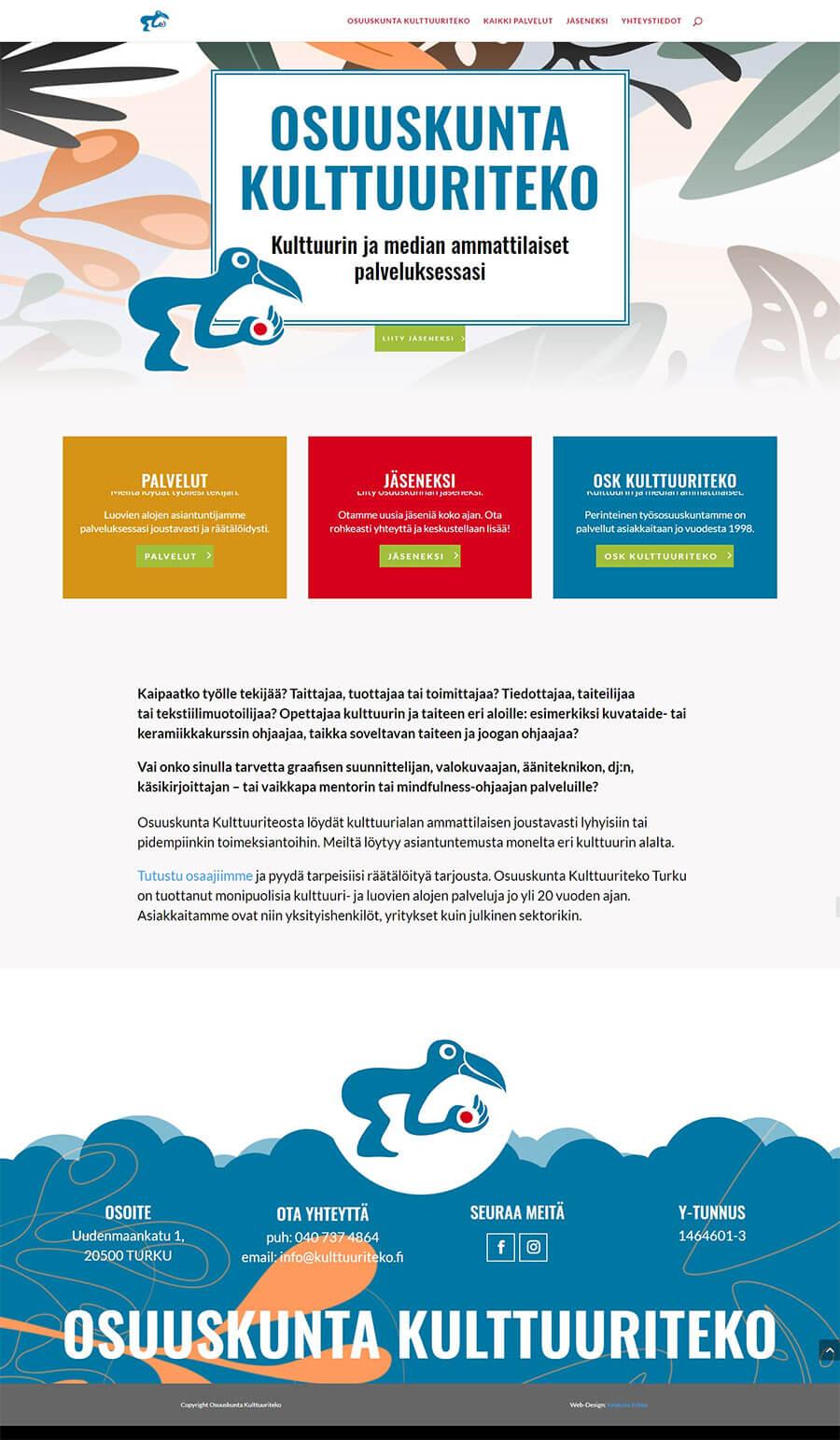 Osuuskunta Kulttuuriteko, nettisivujen uusi ilme, WordPress