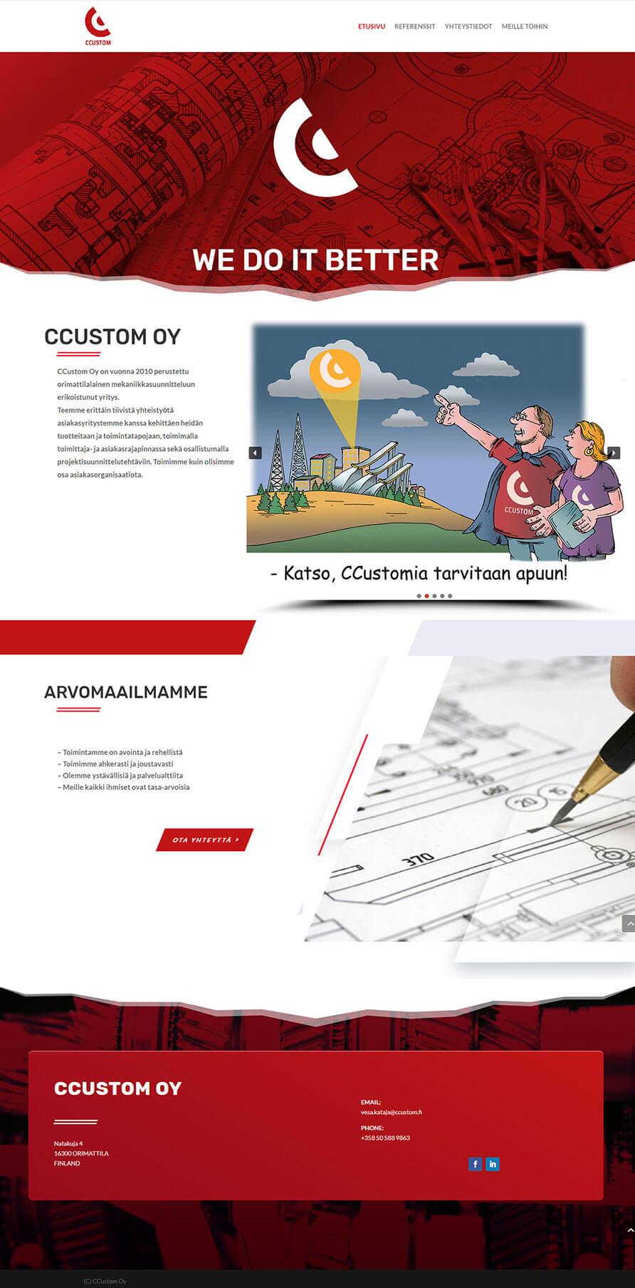 CCustom, WordPress kotisivut